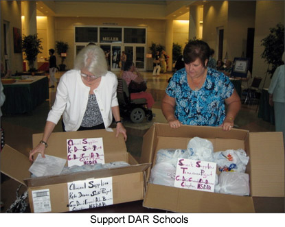 Image of members prepapring donations for the DAR Schools